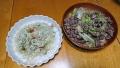 鶏皮サラダ 砂肝とキャベツの炒め物 20160918