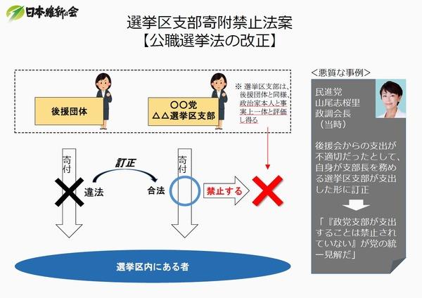"""001 選挙区支部寄附禁止法案 """"山尾法案"""""""