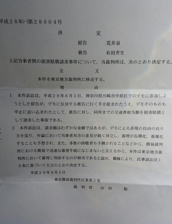 荒井泉 平成28年6月5日の川崎デモ弾圧に係る損害賠償請求訴訟