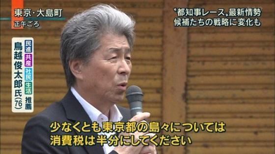 鳥越俊太郎7月25日の名言 「大島は消費税を5%にします」