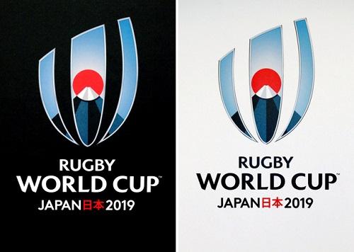 発表された2019年ラグビーW杯日本大会のロゴ。黒バージョン(左)と白バージョン=時事