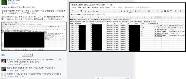 ほなみも協力してた、北海道補選の民進党、共産党候補の池田まき応援勝手連、電話番号入りリスト公開