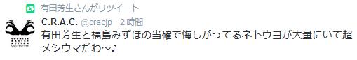 C.R.A.C. @cracjp 有田芳生と福島みずほの当確で悔しがってるネトウヨが大量にいて超メシウマだわ~♪