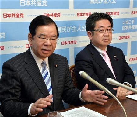 日本共産党 志位和夫委員長(左)、小池晃