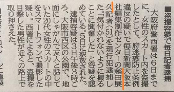 京都新聞性犯罪で再逮捕!毎日新聞記者の稲田展久・9年前に痴漢→現場復帰→スカートの中をスマホで取材