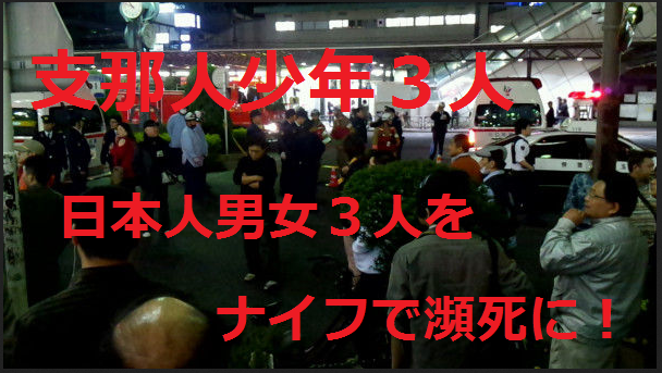 平成25年4月14日、埼玉県川口市のJR西川口駅付近の繁華街で支那人グループが日本人男女3人を刺傷する事件が発生した。