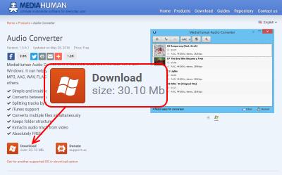 MediaHuman Audio Converter ダウンロードページ
