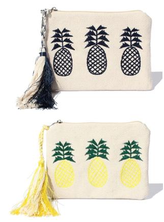 パイナップル刺繍クラッチポーチ小1