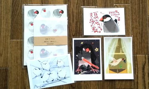 キュウリとポストカードと、鳥柄の傘_2