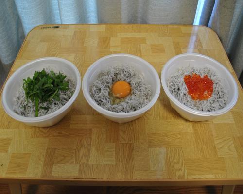 三色しらす丼