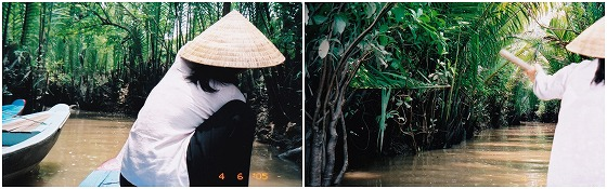 050406メコン川クルーズ舳の女性