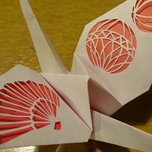 手毬と扇模様×鶴