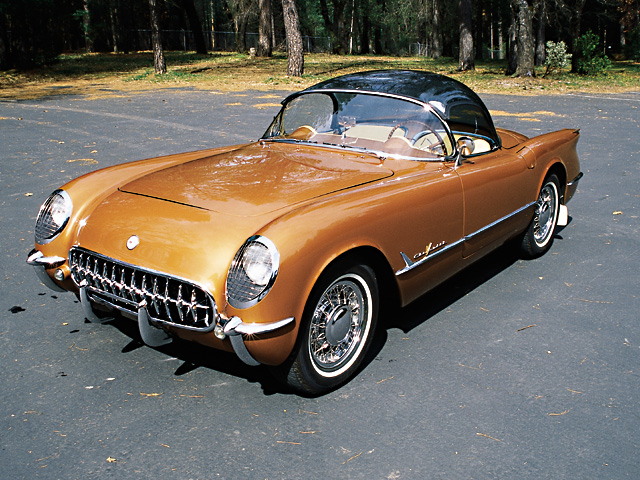0403vet_02z_1955_Chevrolet_Corvette_Bubbletop_Gold_Front_Driver_Side_View.jpg