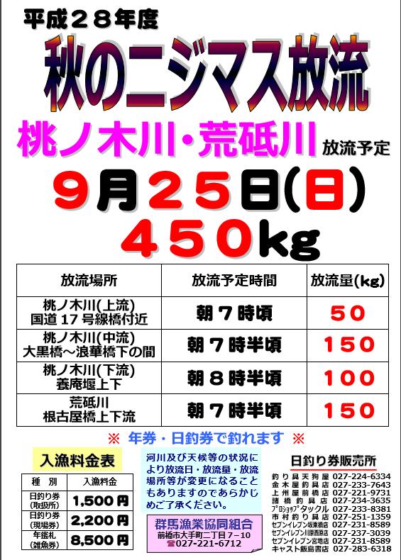 H28秋ニジマス桃ノ木荒砥川