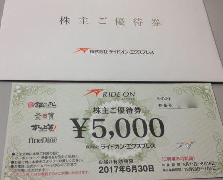 ライドオン・エクスプレス 株主優待券