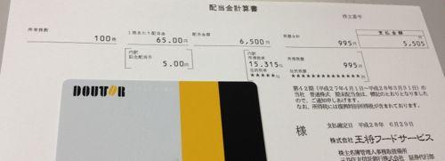 9936 王将フードサービス 配当金