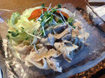 豚肉の冷製しゃぶしゃぶ - 焼き夏野菜マリネ添え