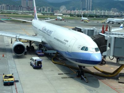 台北松山空港 チャイナエアラインの機材