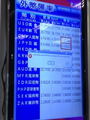 台北松山空港 画面にエラーが出ていました