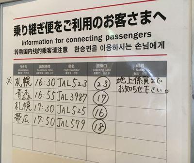 JAL908便で羽田空港に到着しました