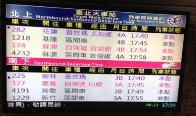 臺北車站(台北駅)発車する電車の表示
