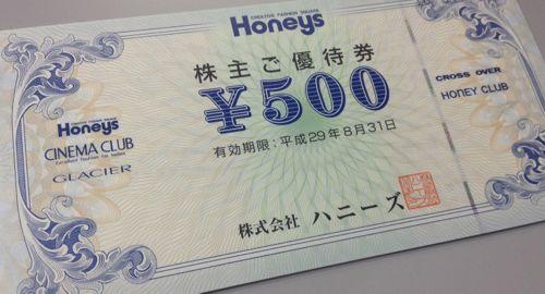 ハニーズ 2016年5月権利確定分株主優待券
