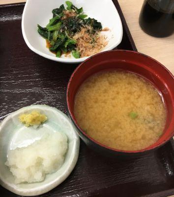 上天ぷら定食 味噌汁と小鉢