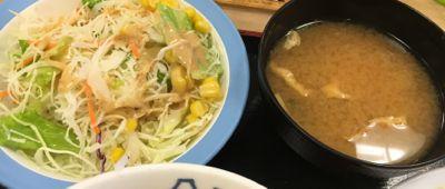 松屋フーズ チーズフォンデュハンバーグ定食 味噌汁・生野菜サラダ