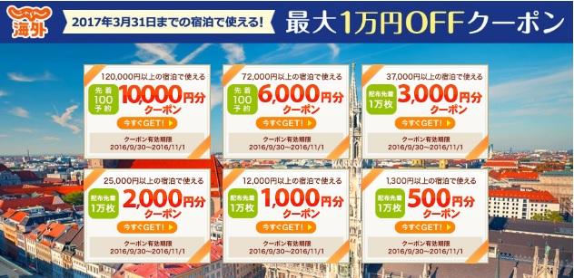 じゃらん 海外ホテルが最大1万円割引のクーポン