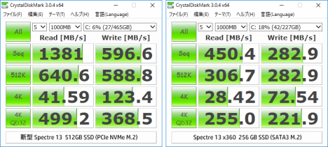 Spectre 13 x360 ssd_比較