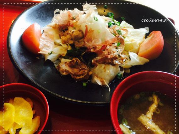 豚肉とキャベツのポン酢炒め定食_1