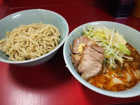 160807_中山駅前_小ラーメン_つけ麺_麺半分_ニンニク