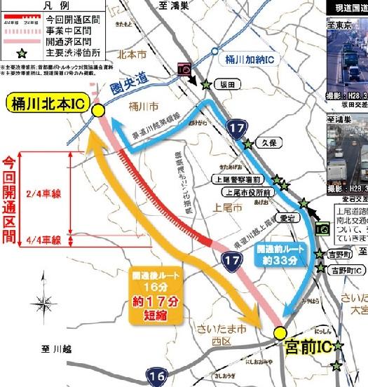 上尾道路今回開通した区間20160429⑤