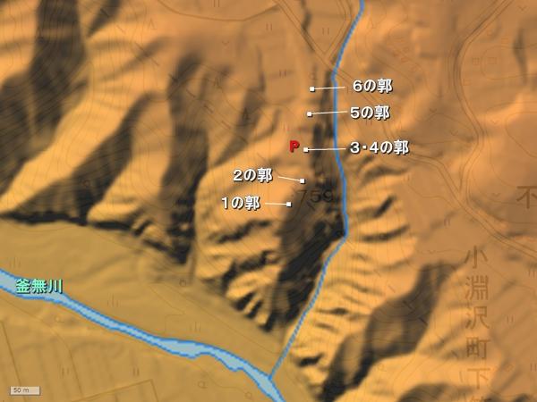 笹尾塁地形図