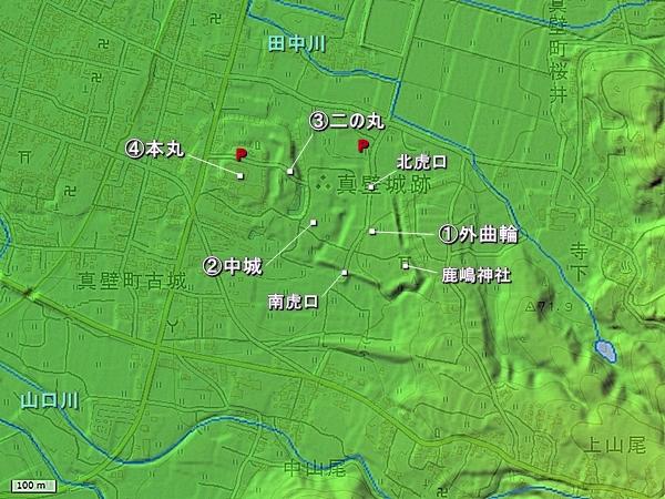 真壁城地形図