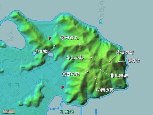 引田城地形図