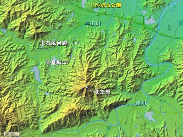 虎丸城地形図