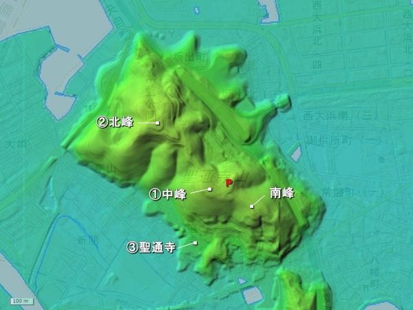 聖通寺城地形図