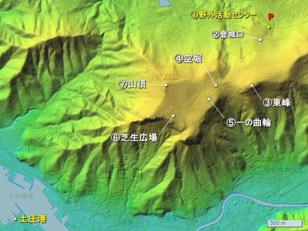 皇踏山城地形図