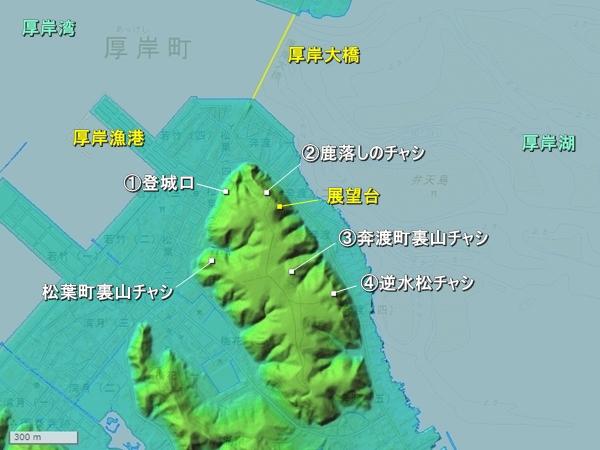 お供山チャシ地形図