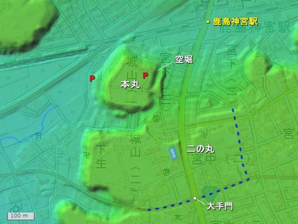 鹿島城_地形図