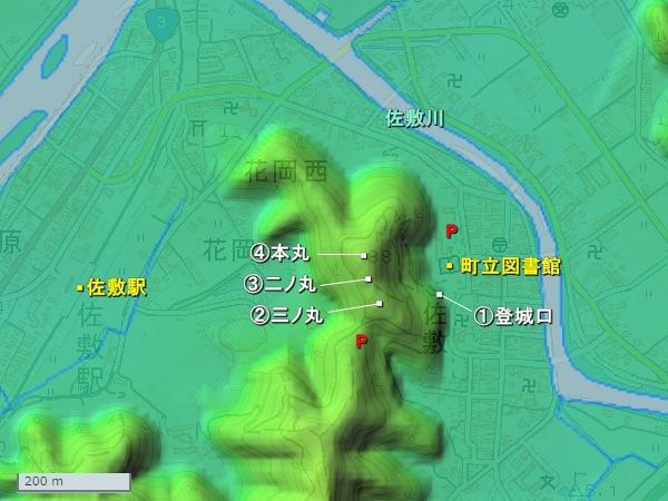 佐敷城地形図