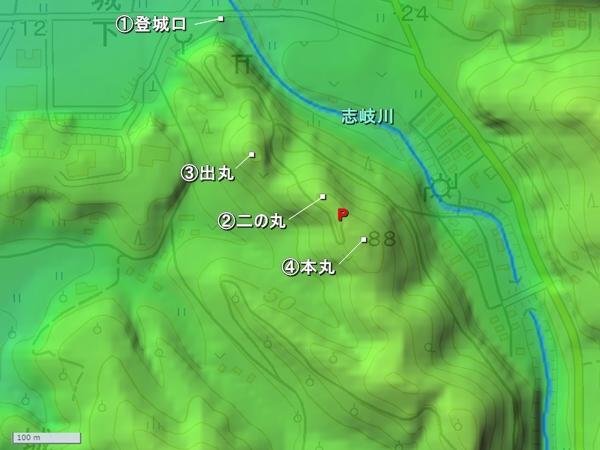 志岐城地形図