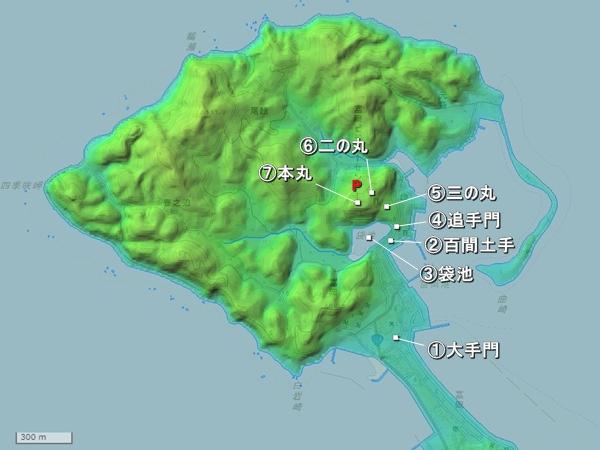 富岡城地形図