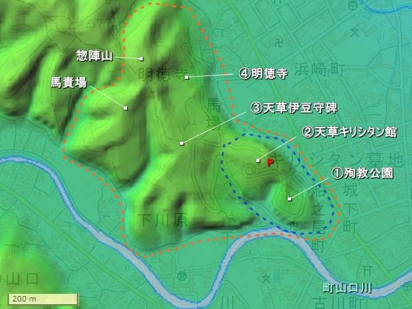 本渡城地形図