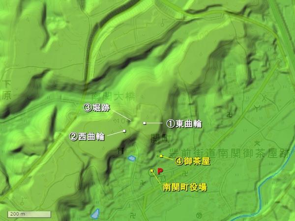 鷹ノ原城地形図