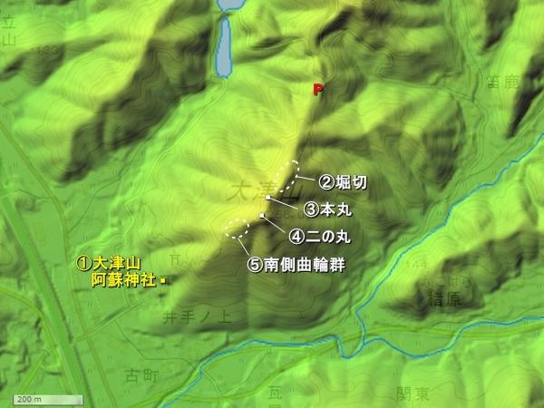 つづら嶽城地形図