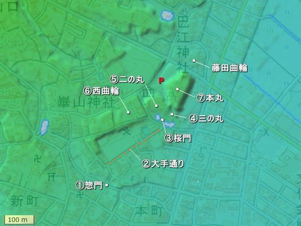 田原城地形図