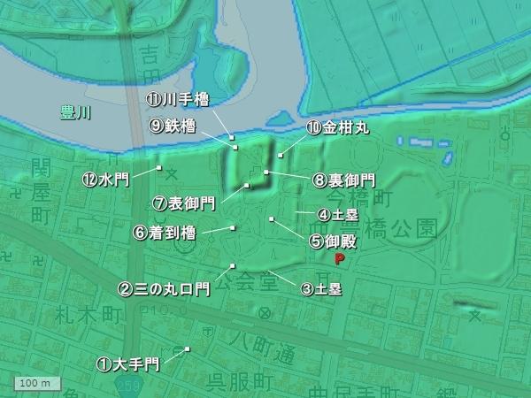 吉田城地形図