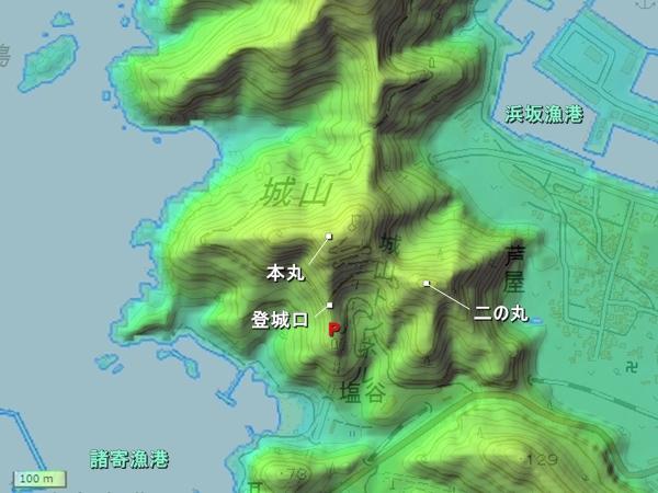 芦屋城_地形図